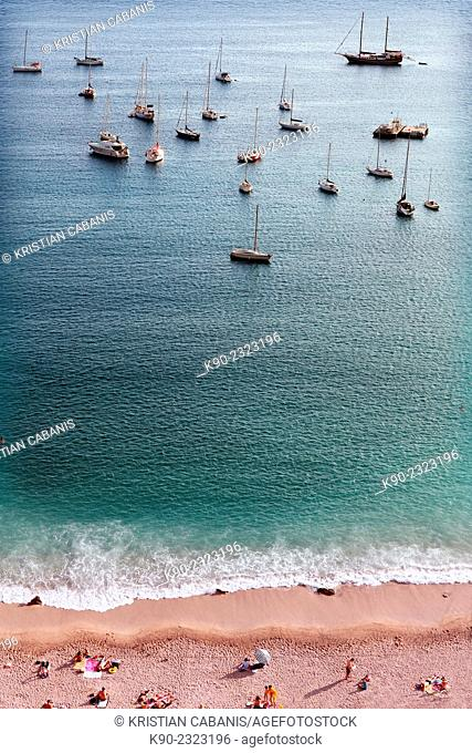Beach with people and boats, Côte d'Azur, France, Europe