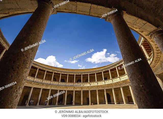 Inner circular courtyard. Palacio de Carlos V. Palace of Charles V. Alhambra, UNESCO World Heritage Site. Granada City. Andalusia, Southern Spain Europe
