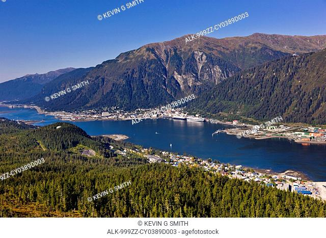 Aerial view looking from above Douglas Island towards Lynn canal and downtown Juneau, Southeast Alaska, Summer