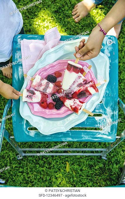 Homemade fruit and yoghurt ice creams on sticks