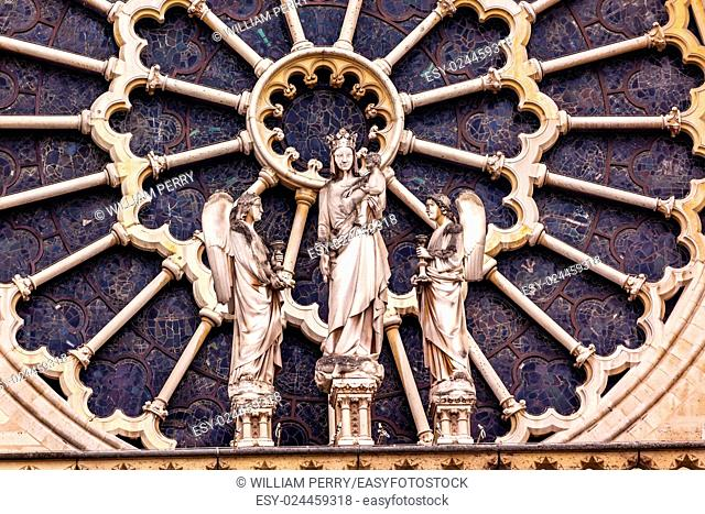 Mary Angels Facade Rose Window Notre Dame Cathedral Paris France. Notre Dame was built between 1163 and 1250AD
