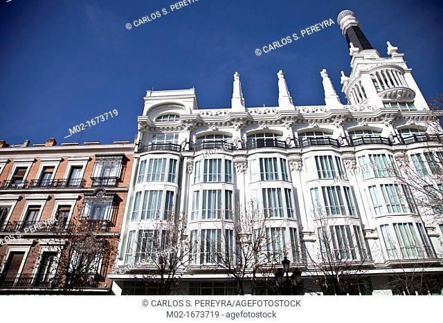 Classic building of Hotel Reina Victoria -now Melia Hotel- at Santa Ana square, Barrio de las Letras, Madrid, Spain, Europe