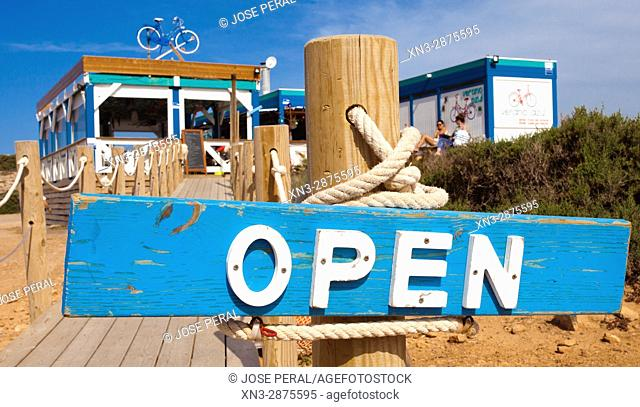 Bar Summer Blue, Open sign in blue and white wood, Chiringuito Verano Azul, Cliff Walk, Paseo del Acantilado, Cape of Palos, Cabo de Palos, Cartagena