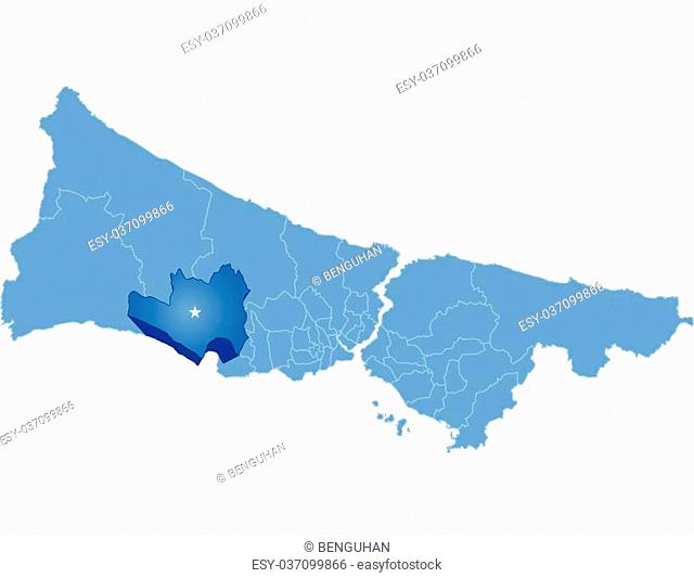 Vector Image - Istanbul Map with administrative districts where Buyukcekmece is pulled isolated on white background