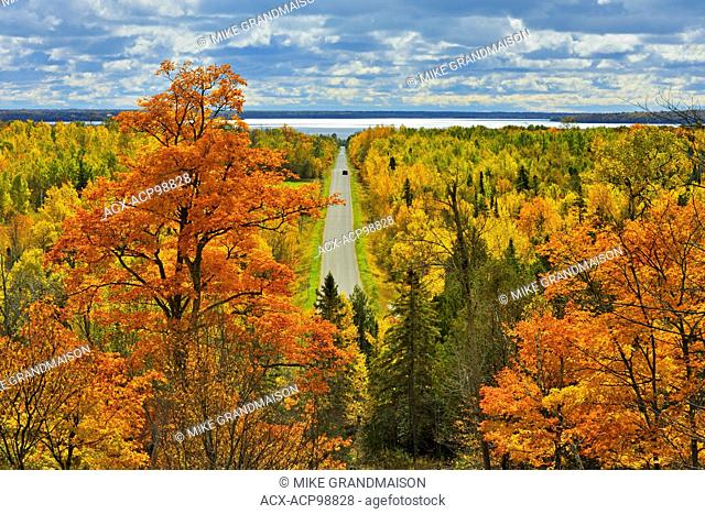 Country road in autumn color Manitoulin Island Ontario Canada