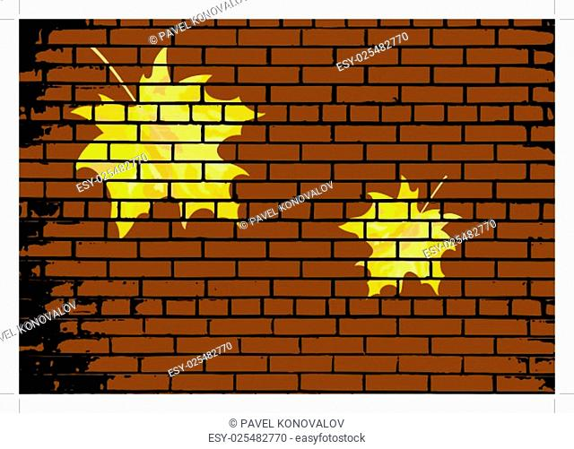 Autumn maple leaves on brick wall background. EPS 10 vector illustration