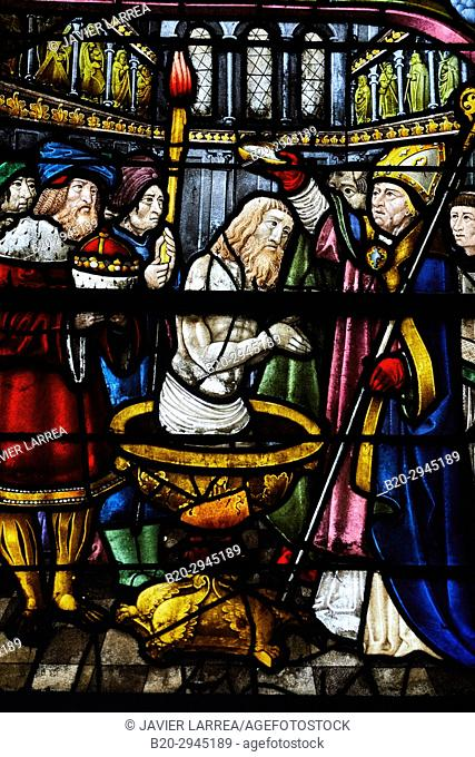 Le baptisme, Stained glass windows, Sainte-Madeleine church, Troyes, Champagne-Ardenne Region, Aube Department, France, Europe