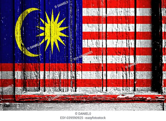 flag of Malaysia painted on wooden frame