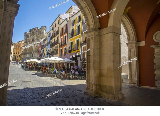 Plaza Mayor from the arcade of the city hall. Cuenca, Spain