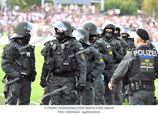Police, policemen, task forces stand on the field after play, SEC, special forces command, uniform. 1st round DFB Pokal SSV Ulm 1846 (UL) - Eintracht Frankfurt...