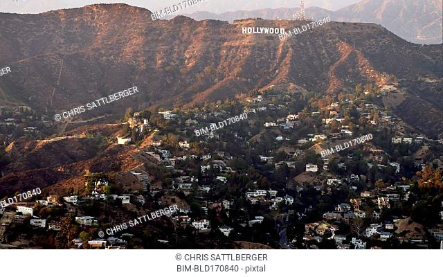 Aerial view of Hollywood sign over Los Angeles cityscape, California, United States