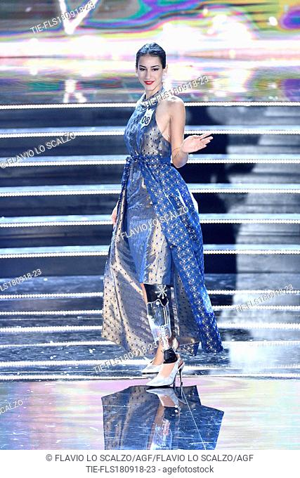 Chiara Bordi, the first miss with a prosthetic leg, third classified at the final of Miss Italia 2018, Milan, ITALY-17-09-2018