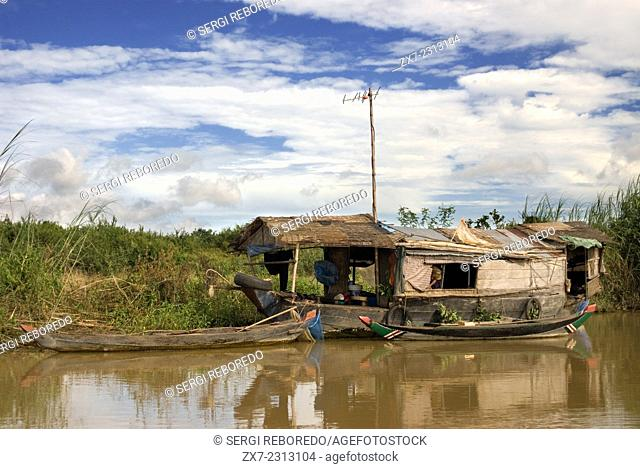 Boats on the Sangker River. Journey from Battambang to Siemp Reap. One boat a day travels from Siem Reap (for Angkor) to Battambang