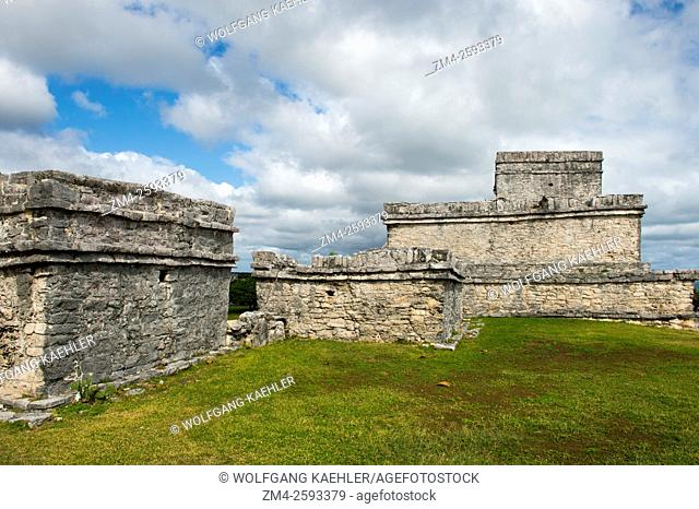 El Castillo (castle) in Tulum, which is the site of a Pre-Columbian Mayan walled city along the east coast of the Yucatán Peninsula on the Caribbean Sea in the...