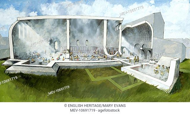 Wroxeter Roman City, Shropshire. Reconstruction drawing of bath house architecture by Ivan Lapper