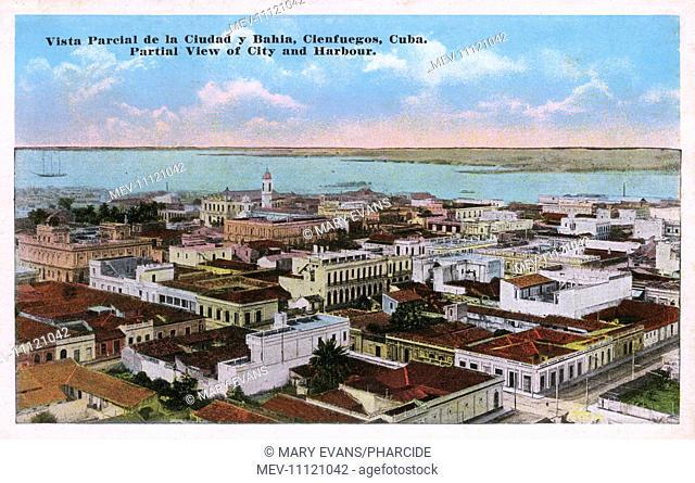 Aerial view of city and bay, Cienfuegos, Cuba