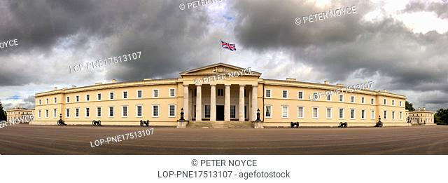 England, Hampshire, Camberley. Panorama of the front facade of the Old College building at the Royal Military Academy in Sandhurst
