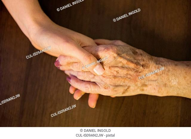 Close up of mid adult woman and her grandmother holding hands