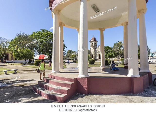View of the Catholic Church across the town square in Nueva Gerona on Isla de la Juventud, Cuba