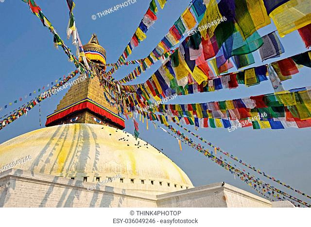Boudhanath buddhist stupa in Kathmandu capital of Nepal