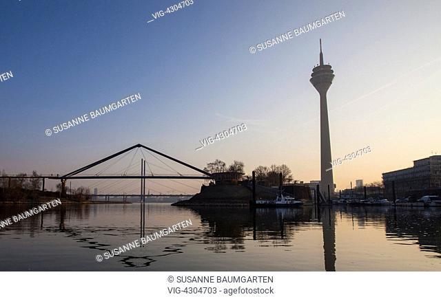 Media Harbour Duesseldorf with the Rheinturm. - DUESSELDORF, NORTH RHINE-WESTFALIA, Germany, 14/03/2014
