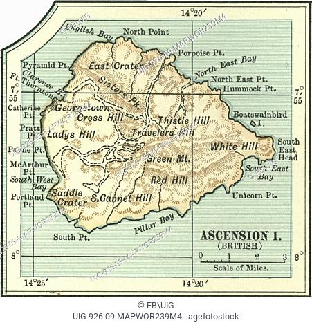 Map of an Ascension Island British highlighting hills and mountains, circa 1902, from the 10th edition of Encyclopaedia Britannica