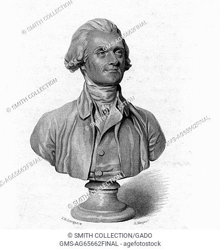 An etching from a bust of Thomas Jefferson, his face depicted with a slight smile, head turned to an angle from the viewer, 1800