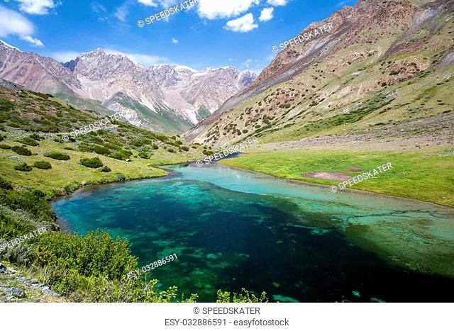 Beautiful lake in Tien Shan mountains, Kyrgyzstan