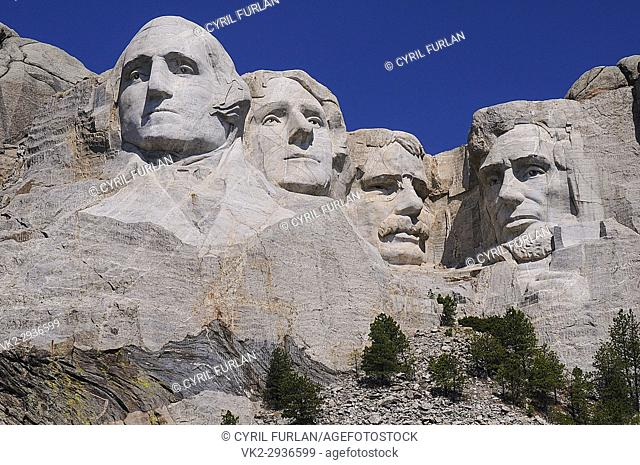 Faces four famous American Presidents at Mount Rushmore South Dakota, Left to right, George Washington, Thomas Jefferson, Theodore Roosevelt, Abraham Lincoln