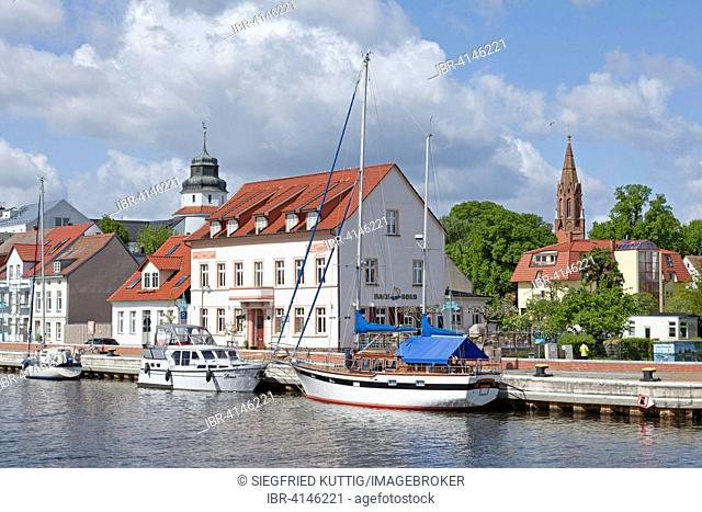 Boats in the harbor, Ueckermünde, Szczecin Lagoon, Mecklenburg-Western Pomerania, Germany