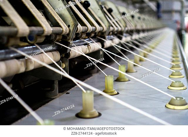 Thread making machine inside cotton mill Multan Pakistan
