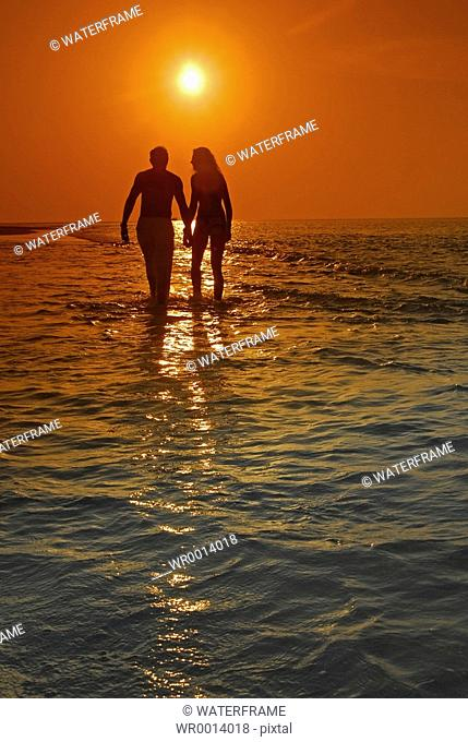 Walk at Sunset, Indian Ocean, Maldives