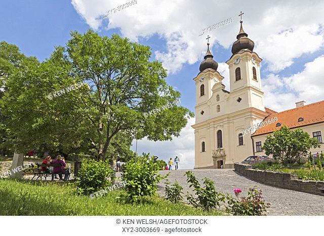 Tihany village on shores of Lake Balaton, Tihany Peninsula, Hungary. 17th century Baroque church built on site of the 10th century Benedictine Abbey