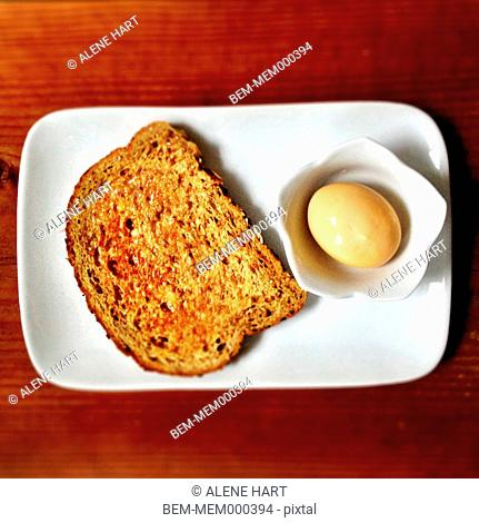 Plate of toast and hard boiled egg