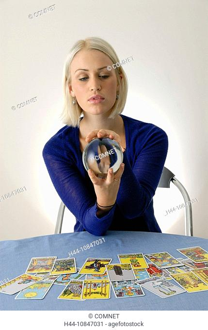 Woman, young, blond, esotericism, esoteric, soothsaying, scrying, fortuneteller, fortune teller, future, mystical, see
