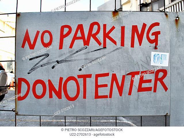 No parking sign, Koza, Okinawa, Japan