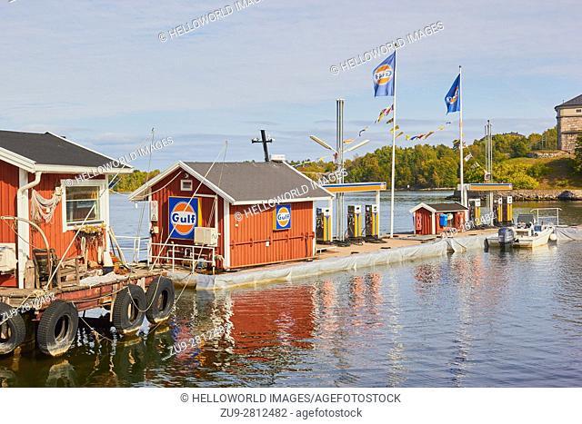 Petrol station for boats, Vaxholm, Stockholm archipelago, Sweden, Scandinavia