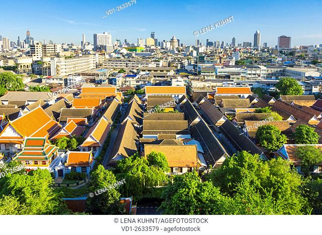 Wat Saket and Bangkok skyline seen from the Goden Mount, Bangkok, Thailand