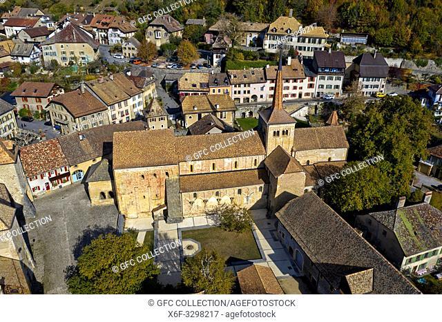 Church of the former Cluniac Romainmotier Abbey, Romainmôtier-Envy, canton of Vaud, Switzerland