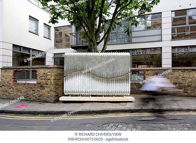 Wide view of silver tiles billboard. Wayfinding sculptures Clerkenwell Design Week 2016, London, United Kingdom. Architect: Giles Miller Studio, 2016