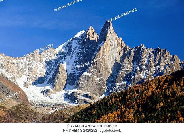 France, Haute Savoie, Chamonix, Mont Blanc, Aiguille Verte and Aiguille du Dru