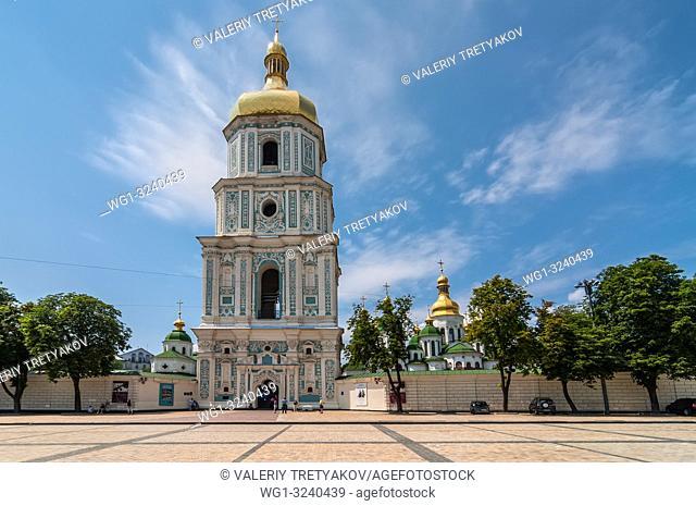 Kyiv, Ukraine - June 18, 2011: View of Saint Sophia Cathedral Bell tower in Kyiv, Ukraine. Sophia Cathedral (Eastern Orthodox Cathedral