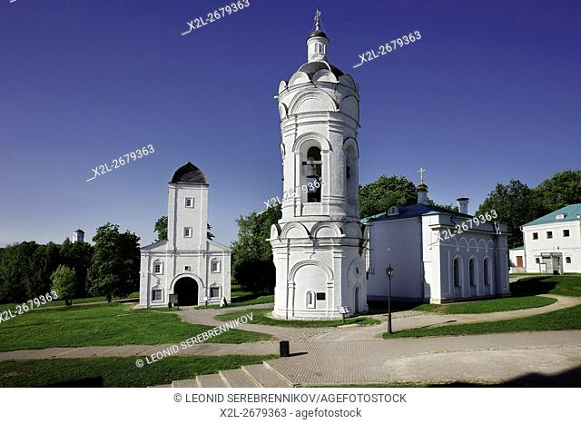 St. George Bell Tower (center) and Vodovzvodnaya Tower (left). Kolomenskoye Museum-Reserve, Moscow, Russia
