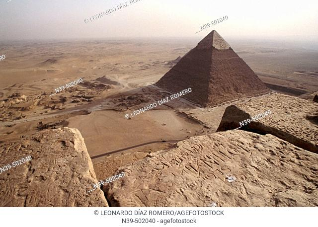 Elevated view of the Chephren Pyramid. View from top of Cheops pyramid. Gizeh. Egypt