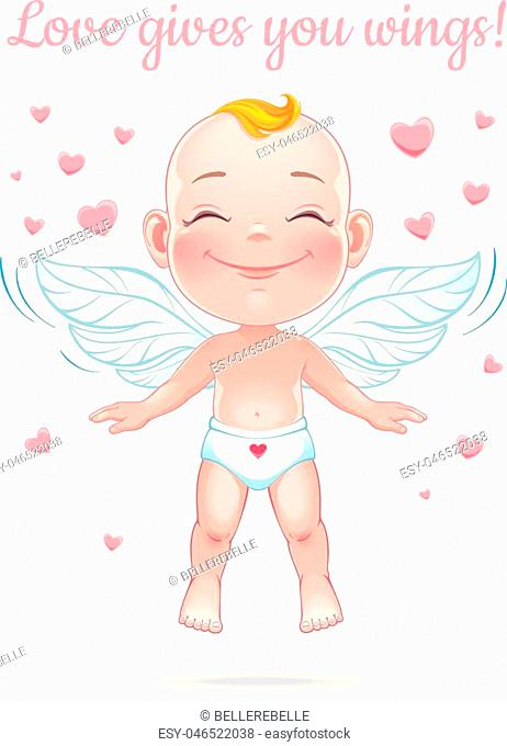 St. Valentine's card. Vector illustration with happy baby cupid. Isolated on white background