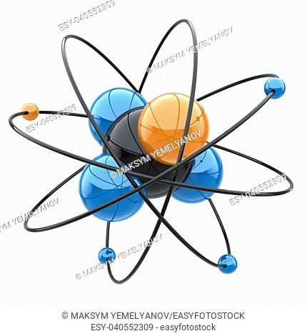 Abstract chemical concept. Atom or molecule sign. 3d