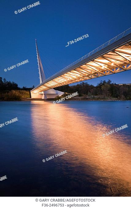 Evening light over the Sundial Bridge and the Sacramento River, Redding, California