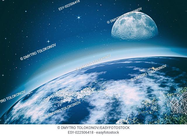 outer space. On the Orbit. Abstract science backgrounds. NASA imagery used