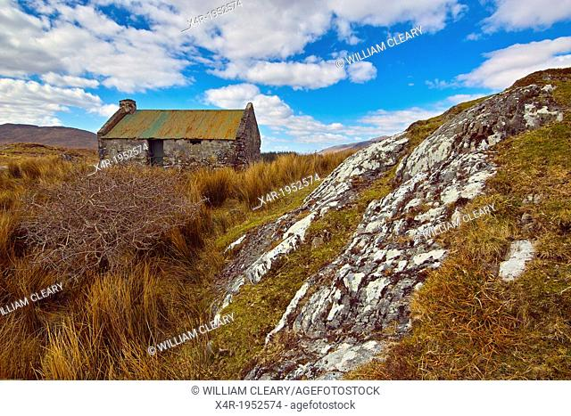 Small derelict cottage, probably originating from famine times, but now used as an animal shelter, near Maam Cross, County Galway, Ireland