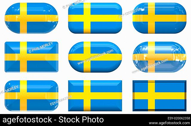 nine glass buttons of the Flag of Sweden